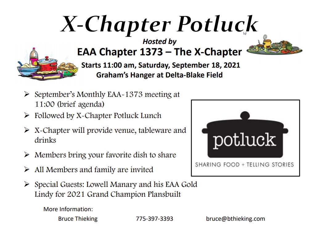 X-Chapter Potluck - September 18, 2021